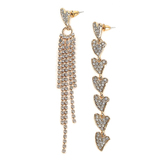 Faithful and Fabulous, Bling Heart Dangle Earrings, Zinc Alloy and Glass, Gold