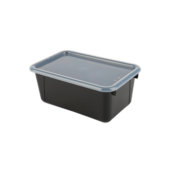 Storex, Small Cubby Bin With Clear Lid, Black, 12.28 x 7.95 x 5.22 Inches, 2 Pieces