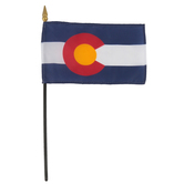 Annin & Company, Colorado State Flag with Rod, 4 x 6 Inches, Multi-Colored, 2 Pieces