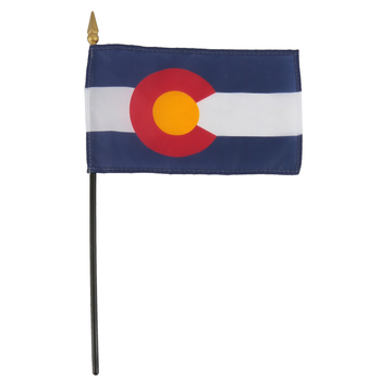 Annin Flagmakers, Colorado State Flag with Rod, 4 x 6 Inches, Multi-Colored, 2 Pieces