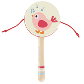 Hape, Twittering Bird Drum-Shaped Rattle, 7 inches, Ages 10 Months & Older