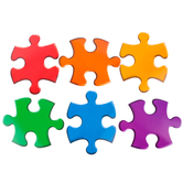 Renewing Minds, Mini Cutouts, Puzzle Pieces, 6 Designs, 3 x 2 Inch, Multi-Colored, 36 Pieces