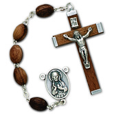 Walnut Bead Rosary with Pewter Crucifix