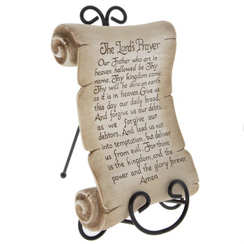 Tabletop Plaque with Easel, Lord's Prayer, Gold Resin, 7 1/4 x 11 inches