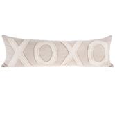 Natural XOXO Lumbar Pillow, Polyester and Cotton, 36 x 12 x 6 Inches
