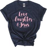 Kerusso, 1 John 4:19 Love Laughter & Jesus, Women's Short Sleeved T-Shirt, Navy Heather, Small
