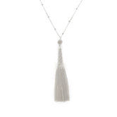 His Truly, Tassel Necklace, Zinc Alloy, Satin Silver, 30 Inch Chain