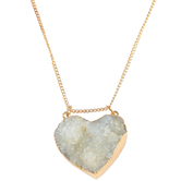 Bella Grace, Natural Stone Heart Pendant Necklace, 20 inches