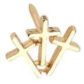 H.J. Sherman, Triple Cross Lapel Pin, Gold Plated, 3/8 x 3/8 inches