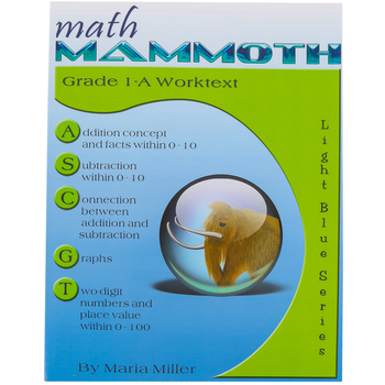 Math Mammoth, Grade 1-A Worktext, Light Blue Series by Maria Miller, Paperback, Grade 1