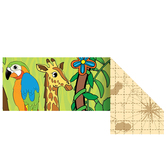 Renewing Minds, Wide Double-Sided Border Trim, 38 Feet, Jungle Animals and Map Design
