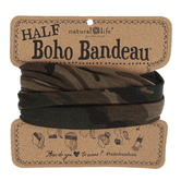 Natural Life, Camouflage Half Boho Bandeau, Polyester, Olive, 9 x 10 inches