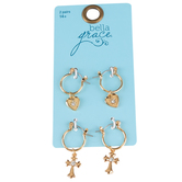 Bella Grace, Heart and Cross Jewel Earrings, Zinc Alloy & Iron, Gold-tone, 2 Pairs