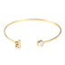 Modern Grace, John 3:16 Opal with Heart Charm Bangle Bracelet, Gold
