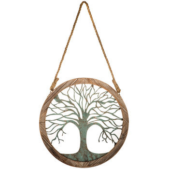 Small Framed Tree of Life Round Metal Wall Art, Aqua, 18 inches