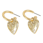 Set Free, Hoop with Heart Charm Dangle Earrings, Zinc Alloy, Brushed Gold
