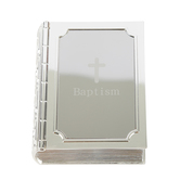 Roman, Inc., Baptism Bible Keepsake Box, Zinc Alloy, Silver, 3 1/2 x 2 3/4 x 1 inches