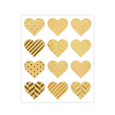 the Paper Studio, Kraft Heart Stickers, Tan and Gold, 24 pieces