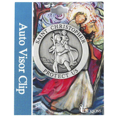 Dicksons, St. Christopher Auto Visor Clip, Pewter, 1 7/8 inches
