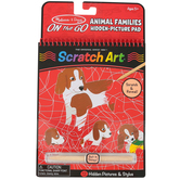 Melissa & Doug, On-the-Go Animal Families Scratch Art Pad, 12 Pages, Spiral, Ages 5 and up