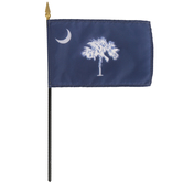 Annin & Company Inc., South Carolina State Flag with Rod, 4 x 6 Inches, Multi-Colored, 2 Pieces