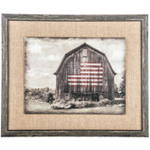 Rustic Barn with Flag and Burlap Framed Art, 21 x 17 1/2 inches