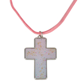Glitter and Grace, Sparkle Cross on Leather Cord Necklace, Pink and Silver, 16 inch Cord