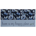 Home Is My Happy Place Wood Décor, Blue Watercolor Flowers on Navy, 10 x 5 x 1 1/2 inches