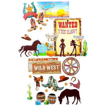 Goin' West Collection, Wild West Bulletin Board Set, Multi-Colored, 47 Pieces