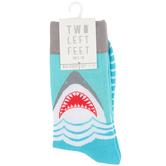 Two Left Feet Sock Co., Great White Shark, Men's Crew Socks, Aqua, 1 Pair