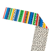 Renewing Minds, Wide Double-Sided Border Trimmer, 38 Feet, Primary Color Stripes or Black Dots on White
