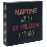 Naptime Dinosaur Prints Wall Decor, Wood, Navy Blue, 7 7/8 x 7 7/8 x 1 1/2 inches