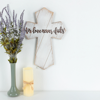 His Love Never Fails Wall Cross, MDF, White and Brown, 18 x 12 1/2 x 1/2 inches