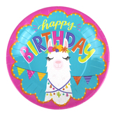 Llama Party Happy Birthday Paper Plates, Large 10-1/2 inch, Multi-Colored, 10 Count