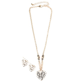 Oori Trading, Heart Pendant Necklace and Dangle Earrings Set, Gold Plated and Enamel, 18 Inch Chain