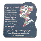 Faithworks, 1 Chronicles 16:11 Strong Woman Shaped Magnet, 3 x 3 1/4 inches
