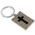 Dicksons, Cross Squares Key Ring, Black and Silver, 2 inches