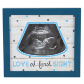 Brother Sister Design, Sonogram Frame for Baby Boy, MDF Wood, Blue, 5 5/8 x 5 1/8 inches