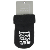 Stephan Baby, Eat Sleep Poop Repeat Socks, Cotton, Black, Size 3 to 12 Months