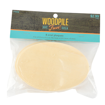 Woodpile Fun, Plywood Ovals, 3 x 4-1/2 inches, Natural, 8 count