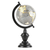 Small Globe with Black Stand, Grey, 10 3/4 x 6 Inches