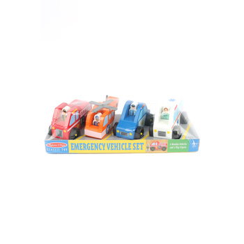 Melissa & Doug, Wooden Emergency Vehicle Set, Ages 3 to 6 Years Old, 8 Pieces