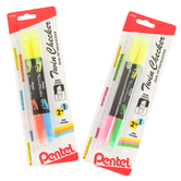 Pentel, Twin Checker Dual-Tip Highlighters, Assortment, 1 Each of 2 Colors