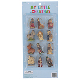 My Little Christmas, Miniature Nativity Ornaments, 1-1 1/2 x 1/4-1 inches, Set of 12