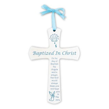 H.J. Sherman, Baptism Wall Cross for Boy, White with Blue, 6 x 4 inches