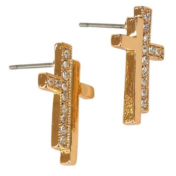 Bella Grace, Bling Cross Earrings, Zinc Alloy, Gold