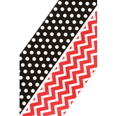 Renewing Minds, Double-Sided Border Trim, 38 Feet, Red and White Chevron and White Dots on Black