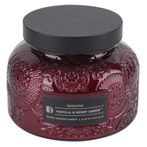 Darsee & David's, Vanilla & Berry Amber Embossed Jar Candle, Red, 18 Ounces