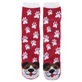 DEI, Dog Face & Paw Print Socks, Red & White, One Size Fits Most