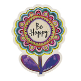 Natural Life, Be Happy Flower Shaped Sticker, Vinyl, 4 inches